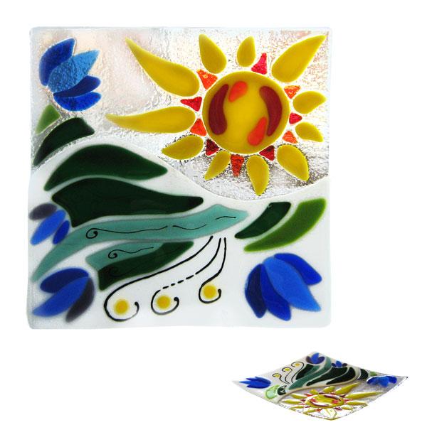 Patera Niebieskie Kwiaty kwadratowa. Fusing. BasoLe