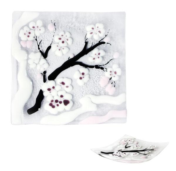 Patera Biały Wiatr ze szkła artystycznego, fusing