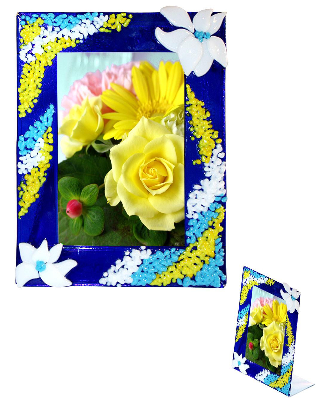 Ramka Niebieskie kwiaty. Fusing. BasoLe