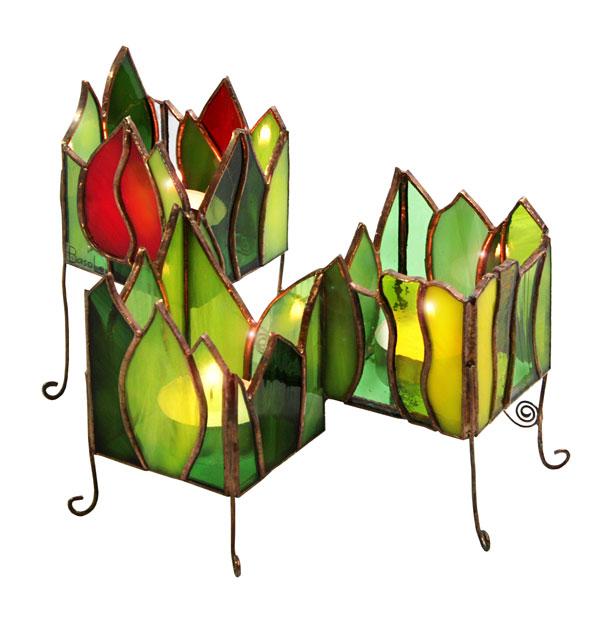 świecznik kaskada tulipanów tiffany kolekcja ogrody marzeń basole