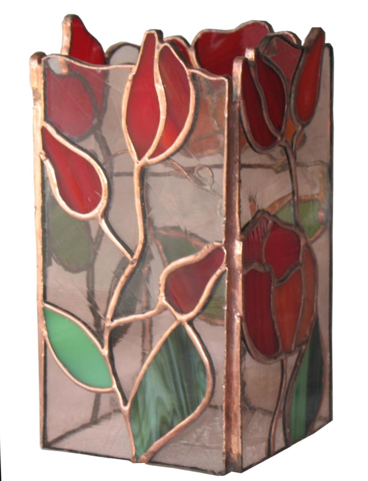świecznik czerwone kwiaty tiffany kolekcja ogrody marzeń basole