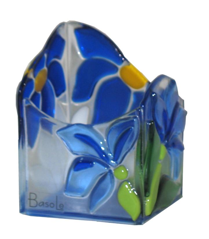 świecznik Piosenka kwiatów kolekcja Niebieskie kwiaty fusing BasoLe