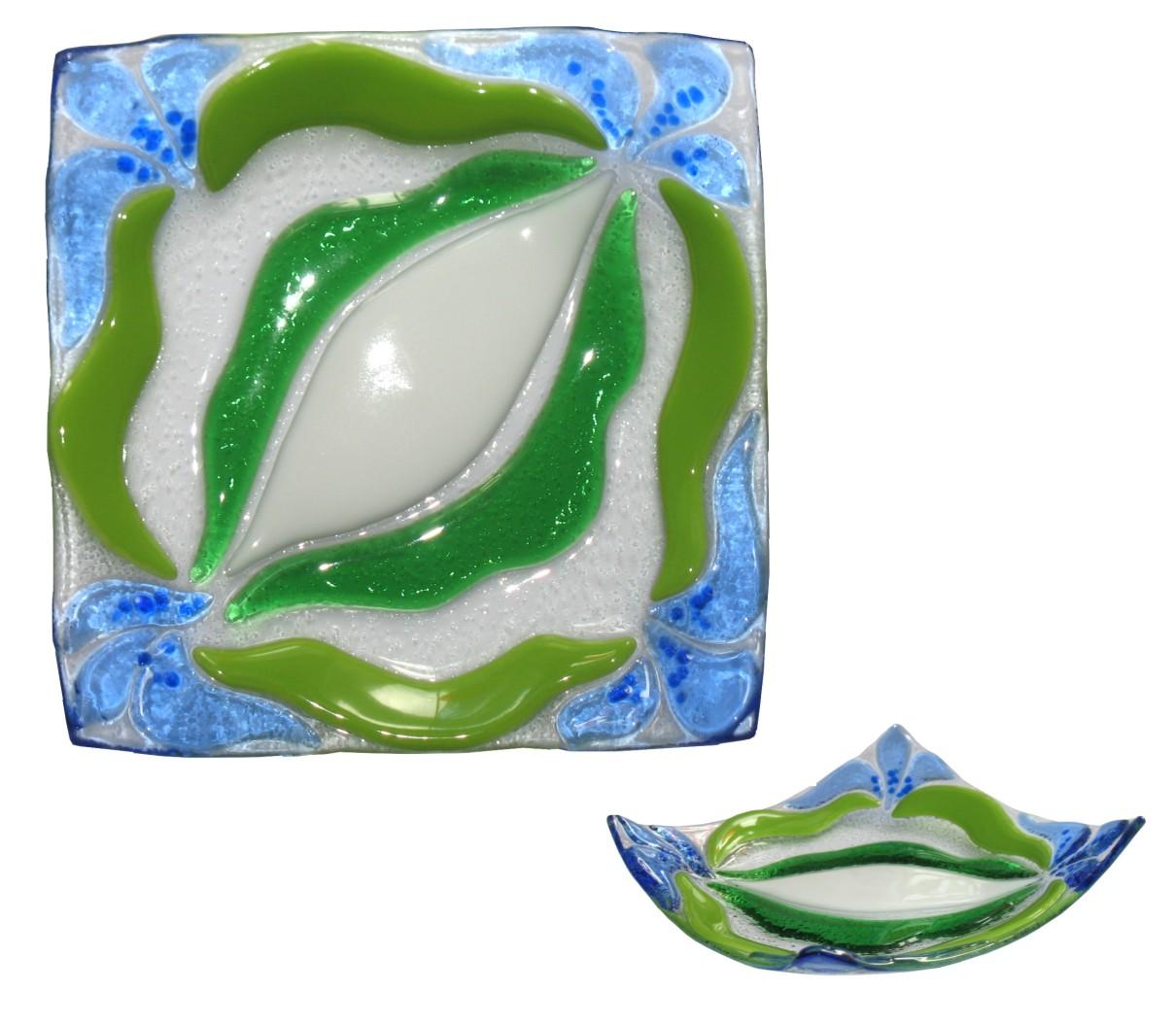 talerz Piosenka kwiatów fusing kolekcja Niebieskie kwiaty BasoLe