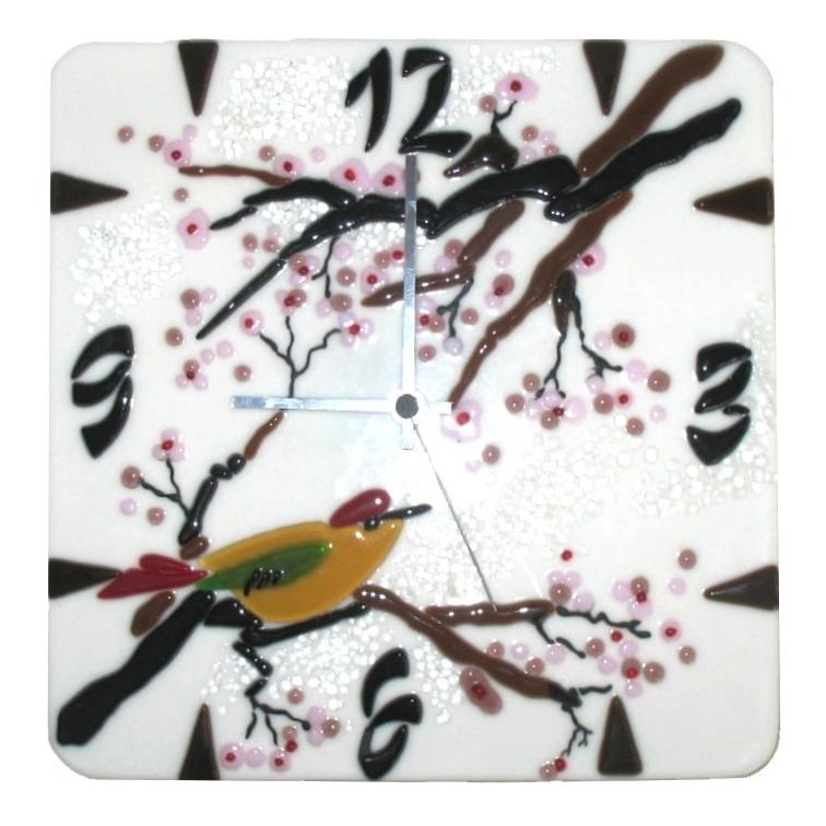 Zegar Trele, zear żcienny. Kolekcja Sakura fusing BasoLe