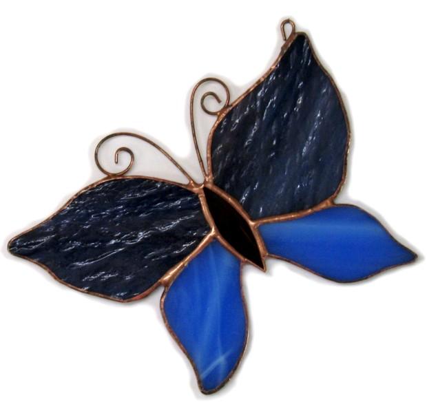 Motylek ciemno-niebieski, zawieszki witrażowe. Basole