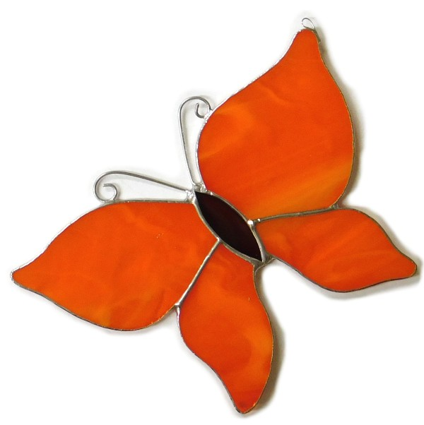 Motylek pomarańczowy, zawieszka witrażowa.