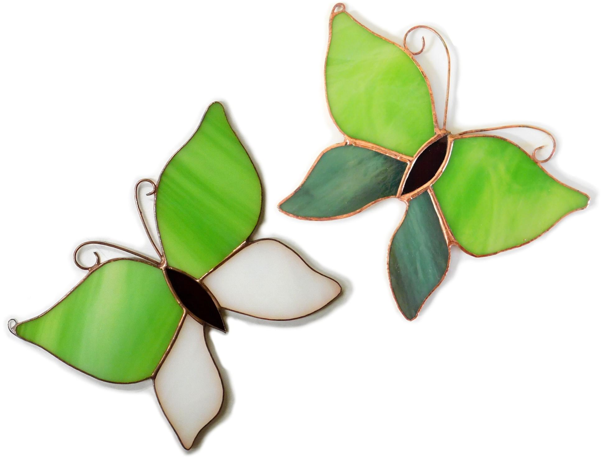 Motylek zielony, zawieszka witrażowa. BasoLe