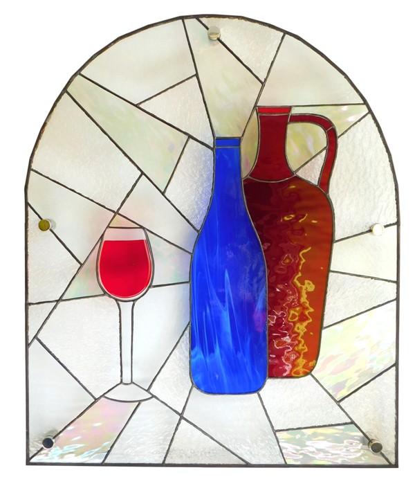 witraż do wnęki kuchennej wino tiffany