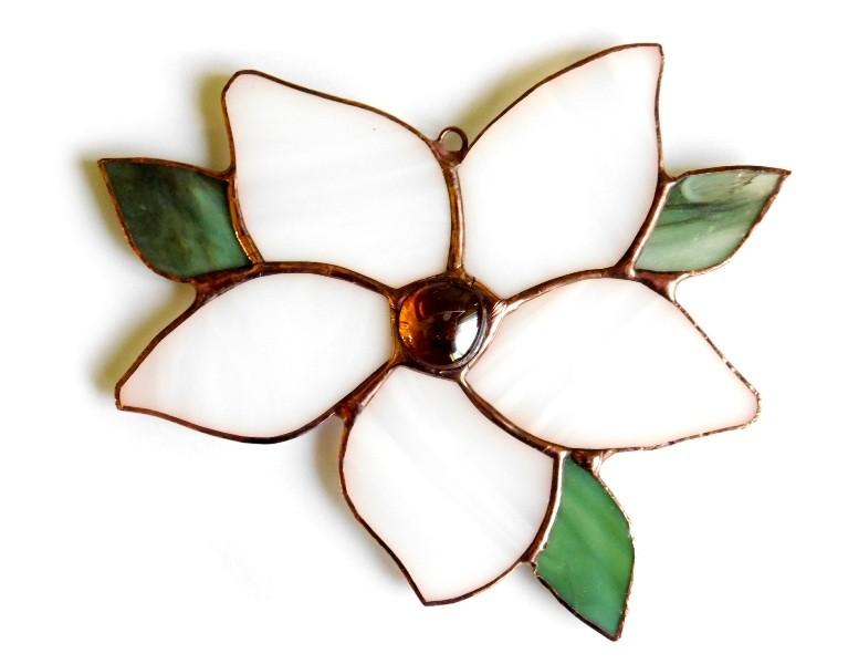 zawieszka witrażowa Kwiat biały