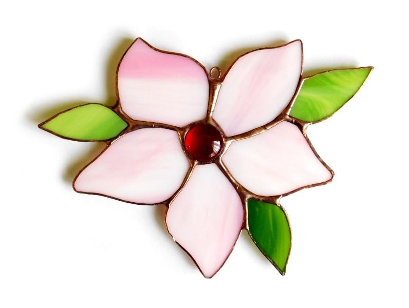zawieszka kwiat witrażowy różowy