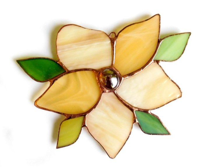 zawieszka witrażowa kwiatek jasnożółty
