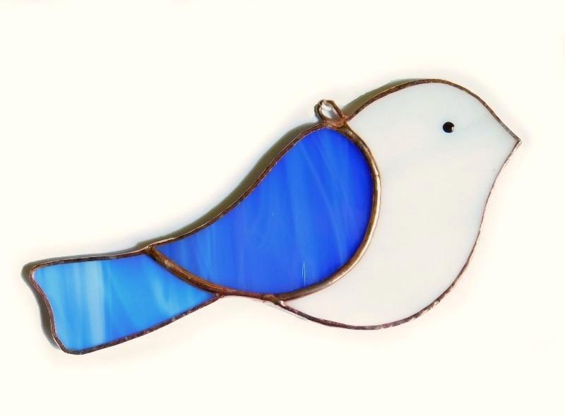 Ptaszki niebieskie, zawieszka witrażowa.