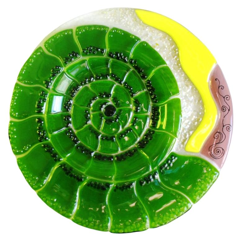 Patera Amonit. Okrągla patera ze szkła artystycznego. BasoLe