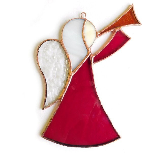 witrażowy aniołekczerwony z trąbką