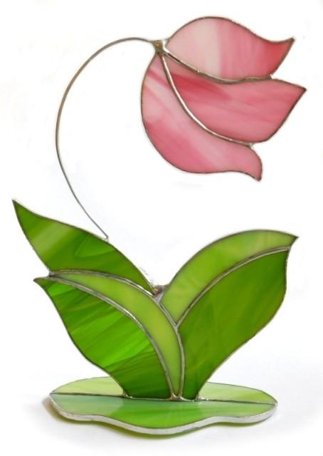 Statuetka szklana Delikatny kwiat różowy