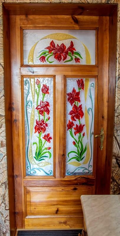 Witraże Lilie do drzwi fusing