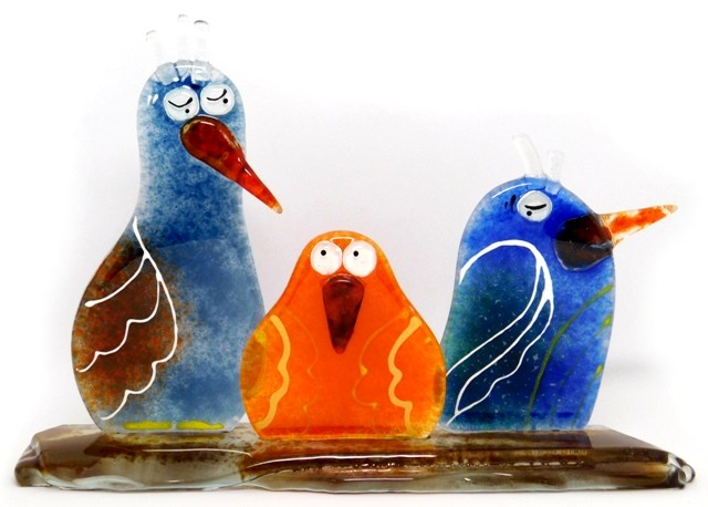 Rodzinka Ptaków, statuetki kolorowe szklane