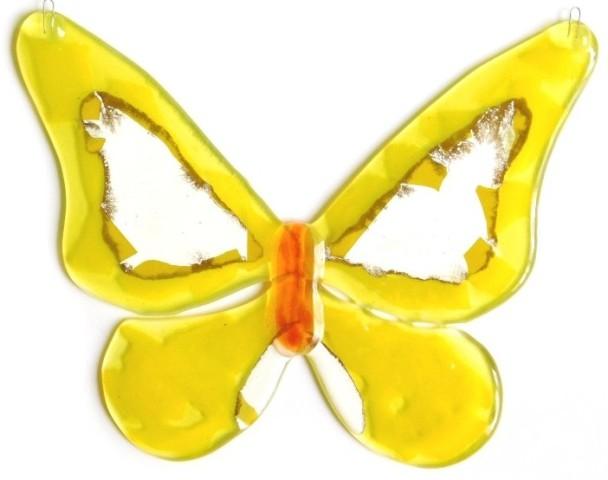 Motyl kolorowy Słoneczko, zawieszka fusing.