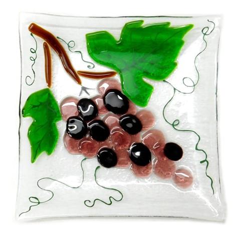 Тарелка Виноград средняя. fusing, 17 cm. BasoLe.