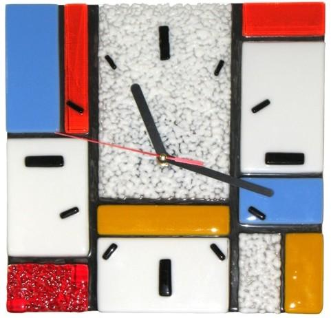 Zegar ścienny Motywy Mondriana. Szkło artystyczne. BasoLe.
