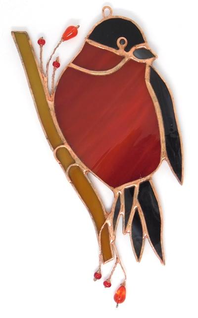 Ptaszek Gil. zawieszka witrażowa, BasoLe