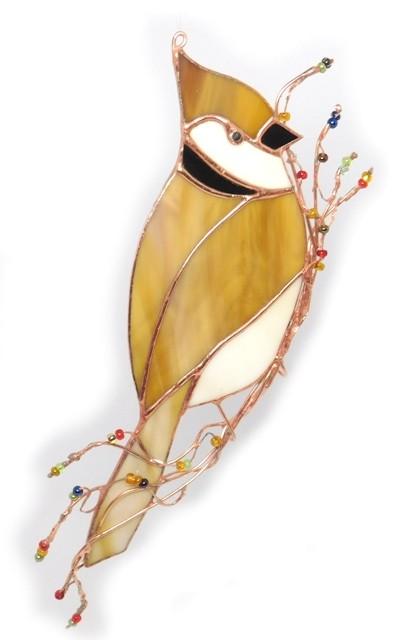 Czubatka, witrażowy ptak ze szkła. BasoLe.