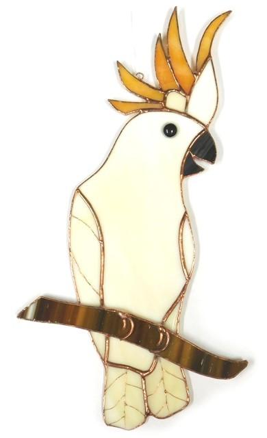 Papuga Kakadu zawieszka witrażowa ze szkła artystycznego, BasoLe